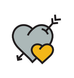 cartoon heart arrow icon yellow color vector image