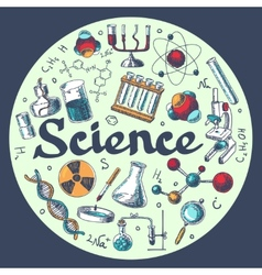 Chemistry research emblem template sketch vector