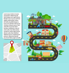 city map with buildings and roads vector image
