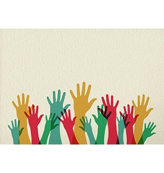 Colorful hands teamwork concept vector