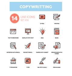 Copywriting - line design icons set vector
