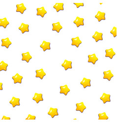 Cute yellow stars pattern with isolated white vector