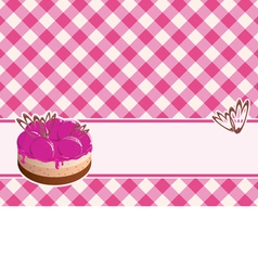 delicious cake with berry jam on a plaid backgroun vector image
