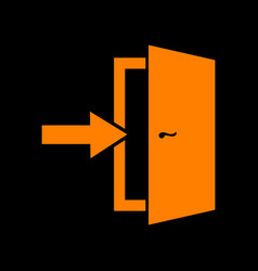 Door exit sign orange icon on black background vector