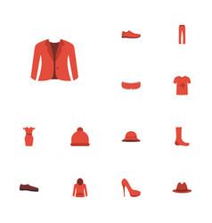 Flat icons heeled shoe elegant headgear fedora vector