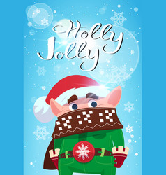 holly jolly merry christmas banner green elf cute vector image vector image