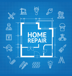 Home repair concept witch building construction vector