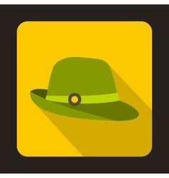 Hunter hat icon flat style vector