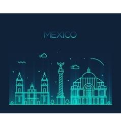 Mexico city skyline trendy line art style vector