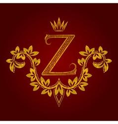Patterned golden letter Z monogram in vintage vector image