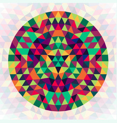 Round geometric triangle kaleidoscopic mandala vector