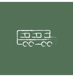 School bus icon drawn in chalk vector