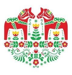 Swedish Dala or Daleclarian horse folk pattern vector image vector image