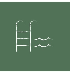 Swimming pool with ladder icon drawn in chalk vector