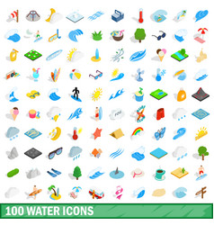 100 water icons set isometric 3d style vector