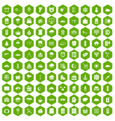 100 windows icons hexagon green vector