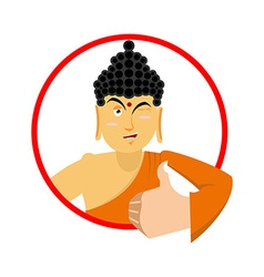 Buddha thumbs up and winks indian god sign all vector