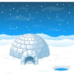 Eskimo cold house from ice blocks in antarctica vector