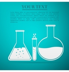 Laboratory glassware flat icon on blue background vector