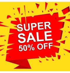 Big sale poster with super sale 50 percent off vector