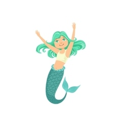 Turquoise Hair Mermaid In White Sportive Swimsuit vector image