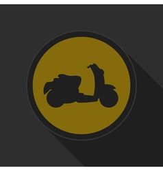 Yellow round button with black scooter icon vector