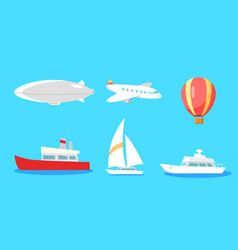 Transportation collection on blue background vector