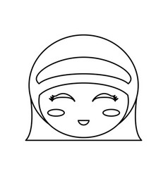 Kokeshi head face doll outline vector