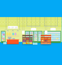 cartoon interior super market or shop with vector image