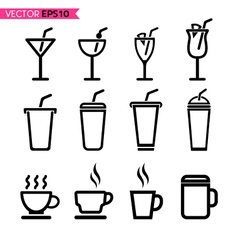 Glass and coffee cup icons vector