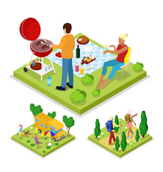 Isometric outdoor activity family barbeque grill vector