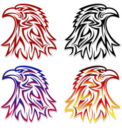Eagle head symbol emblem tattoo outlines black red vector