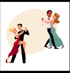Couples of professional ballroom dancers dancing vector