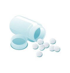 Pills and empty plastic transparent bottle vector