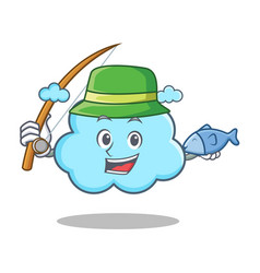 fishing cute cloud character cartoon vector image