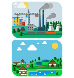 Urban and country landscapes flat vector