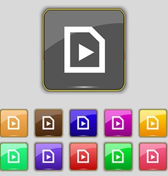 Play icon sign set with eleven colored buttons for vector