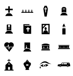 Black funeral icon set vector