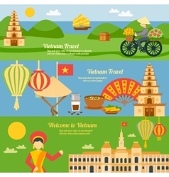 Vietnam banner set vector