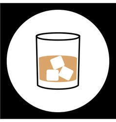 Simple whisky glass with ice cubes icon eps10 vector