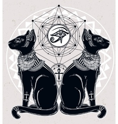 Egyptian cats with sacred eye vector