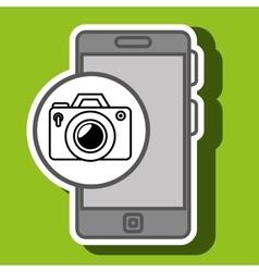 Smartphone blue camera isolated icon design vector