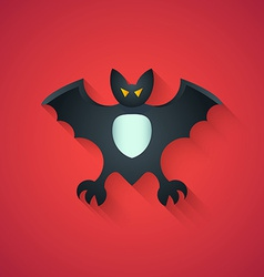 Bat Funny Halloween Carton with Long Shadow on Re vector image