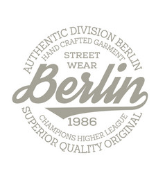 berlin sport t-shirt design vector image