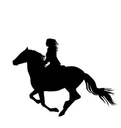 black silhouette of a woman rider a running horse vector image