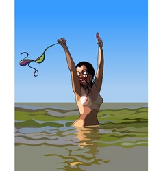 cartoon cheerful woman standing topless in the vector image vector image