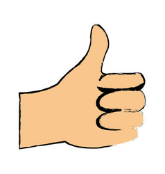 Cartoon man hand like gesture thumb up vector