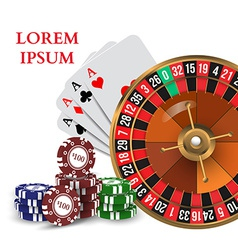 Casino Roulette Playing Cards witn Chips vector image vector image