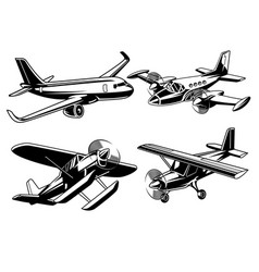 collection of modern airplane vector image