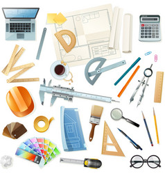Construction Architect Tools Set vector image vector image